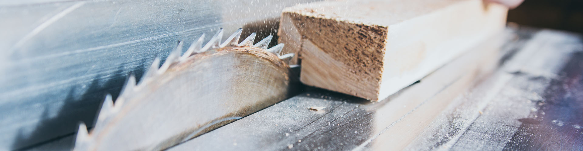 Carpenter using circular saw in workshop